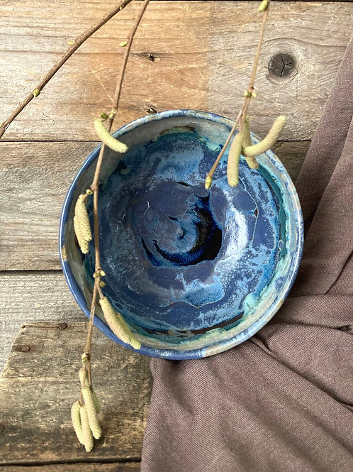 (06) Ciotola in gres nero con interno blu