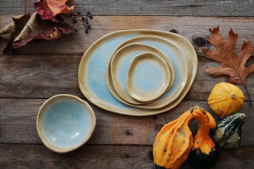 Set di piatti irregolari azzurri - 5 pezzi