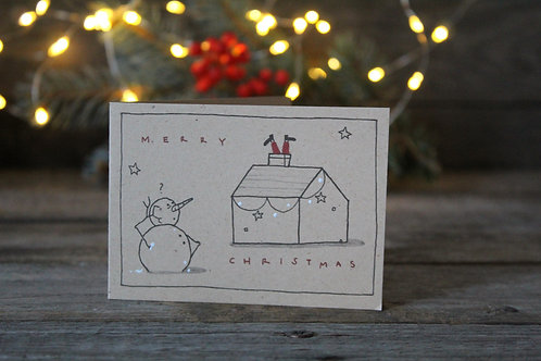 """Bigliettino auguri di Natale """"Pupazzo"""" in carta riciclata di cuoio"""