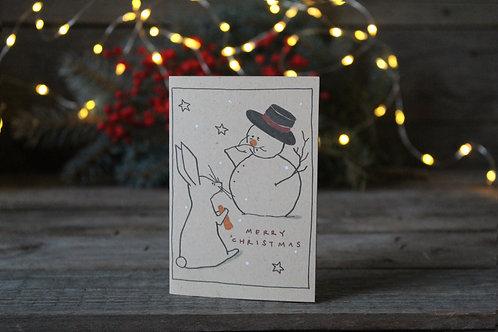 """Copia di Bigliettino auguri di Natale """"Coniglietto"""" in carta riciclata di cuoio"""