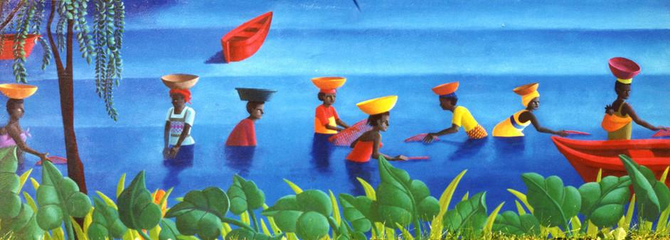 Scène sur un lac en Afrique noire