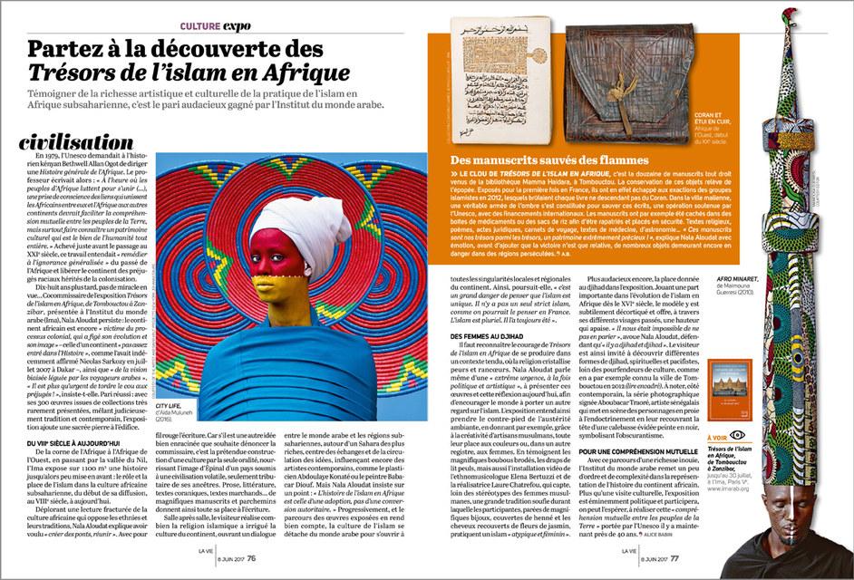 """La Vie """"double page Culture"""""""