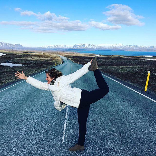 Yoga and the open road! This is  #thelotusfeeddoesiceland #elementaladventureyogaretreat