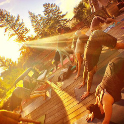 Yoga sesh Sunset on the the truck deck. Lesson of the day..