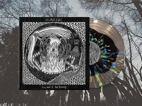 """Slaves BC """"Lo, and I Am Burning"""" 180g Clear w/Black Center + Blue/Green Splatter"""
