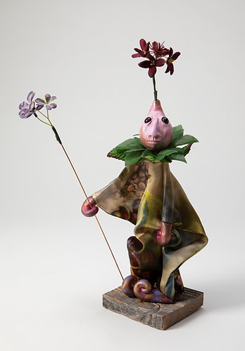 Briar Woodsprig - Little Pink Painted Silk Flower Berry Tunic Puppet