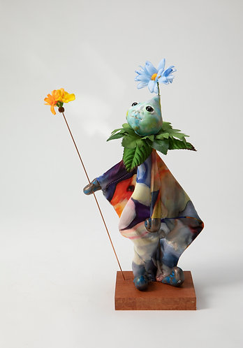 Thistle Bee - Little Blue Painted Silk Fish Tunic Puppet