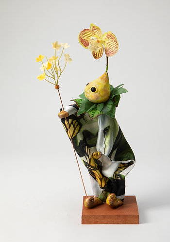 Thistle Bee - Little Yellow Butterfly Painted Silk Tunic Puppet