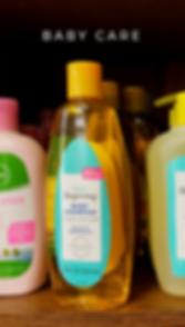 baby care items like shampoo, soap, and lotion