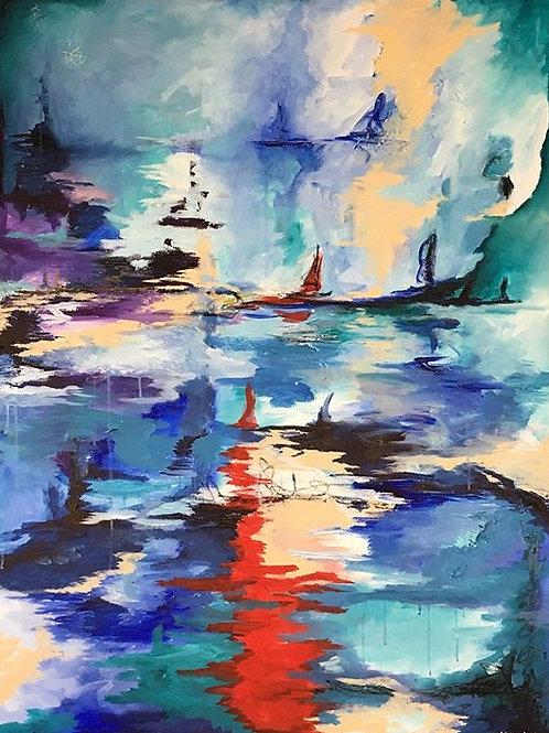 Harbor abstract at night