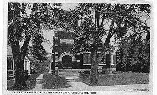 Calvary Lutheran Church on Postcard 1917