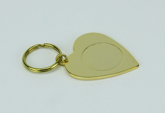 Heart Shape Metal Key Fob with indent