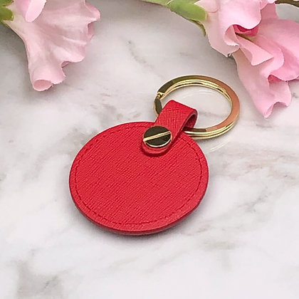 Round Leather Key Fob