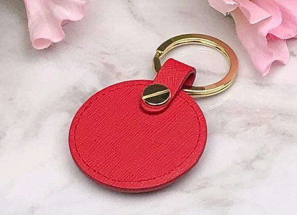 Round Leather Key Fob