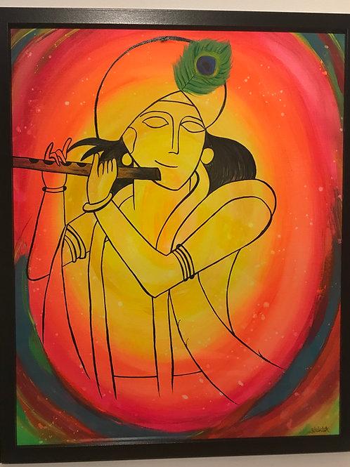 "Abstract Krishna Painting - 16""*20"""