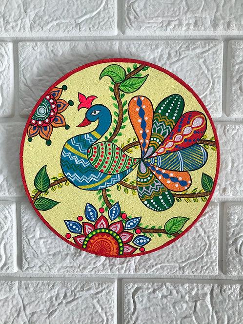 Madhubani Peacock painting on a cork mat - 19cms