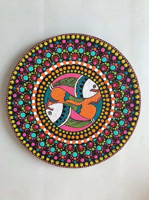 Madhubani Dot Mandala Painting on Cork - 19cms