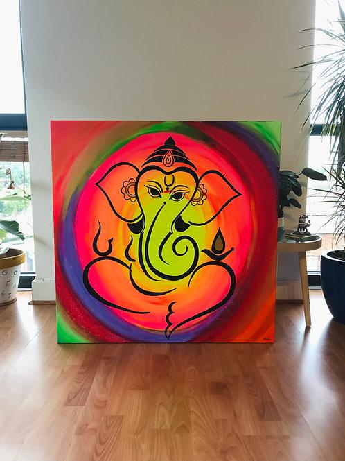 Abstract Ganesha Painting 90*90cms