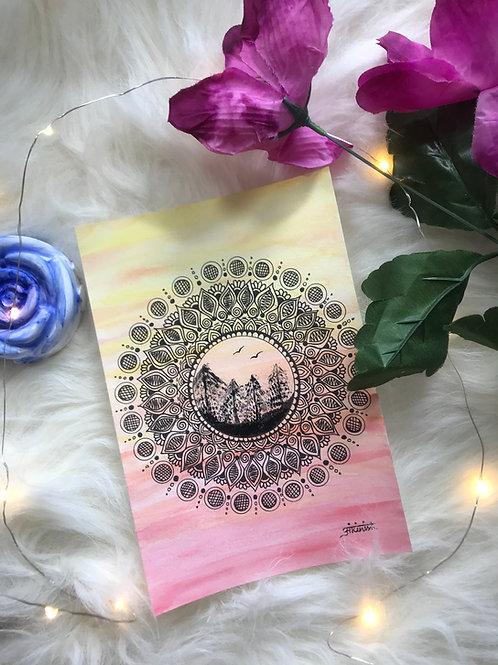 Landscape Mandala on a Mixed Media Paper