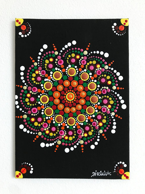 "Dot Mandala Painting on a Canvas board 5""*7"""