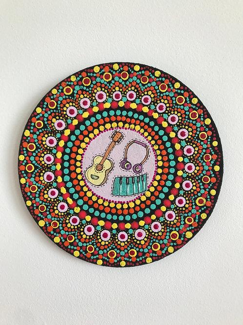 Musical Dot Mandala Painting on a Cork Base
