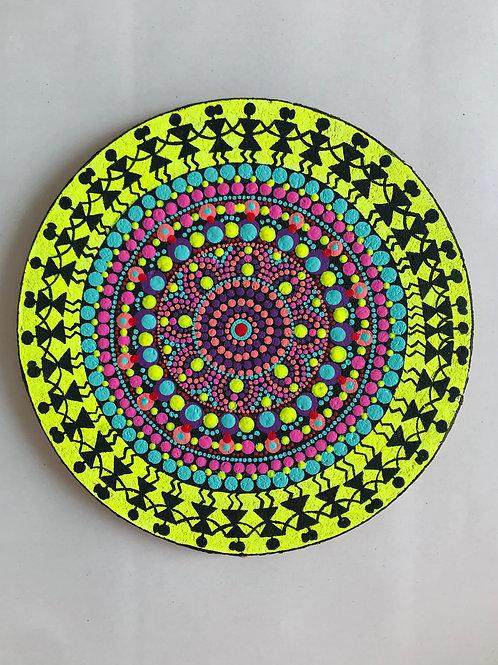 Tribal Art Dot Mandala Painting on Cork
