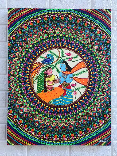 Radha Krishna Dot Mandala Painting - 60*45cms