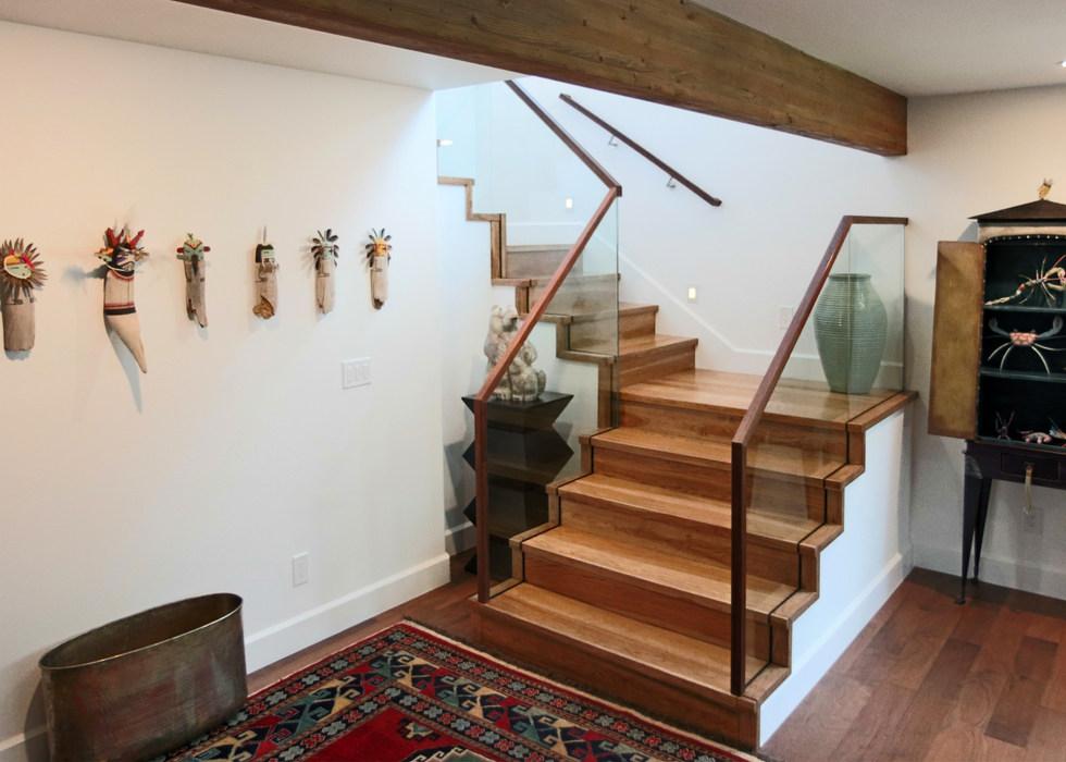 WALNUT STAIRS WITH GLASS RAILS