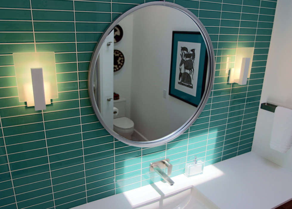 GUEST LAV WALL WITH GLASS TILE