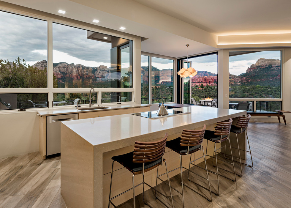 Contemporary Kitchen Island With Views