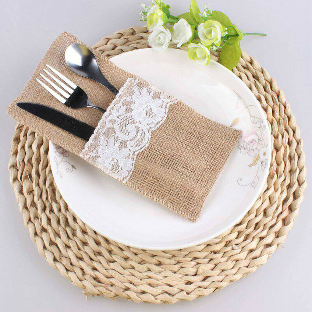 hessian cutlery holders