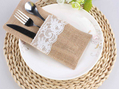 Hessian cutlery holders.