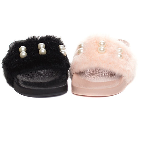 Pearl Fur Slide