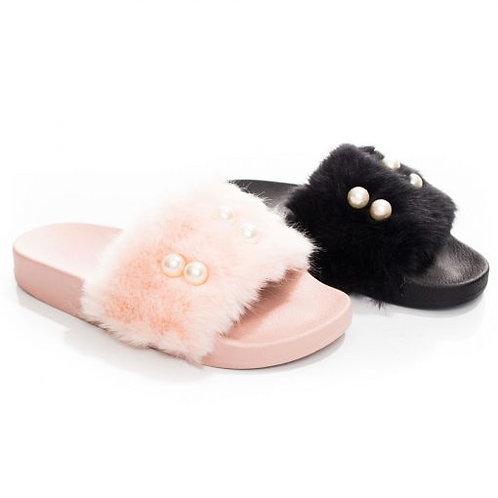 Fur slip on Sandals