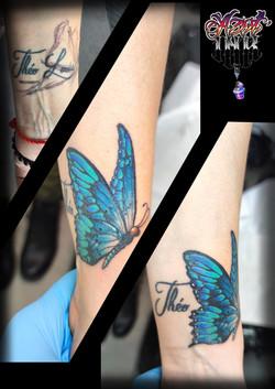 tatouage papillon en couleur à Bordeaux