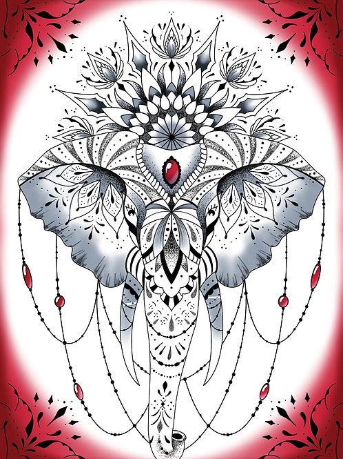 print tête d'éléphant ornemental mandala et floral édition limitée signée
