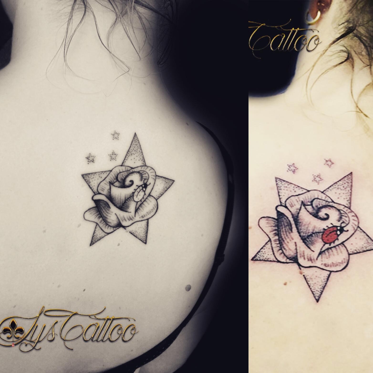 tatouage haut du dos femme