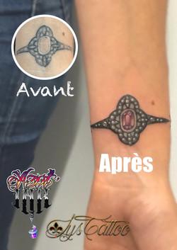 reprise d'un tatouage bracelet à Bordeaux
