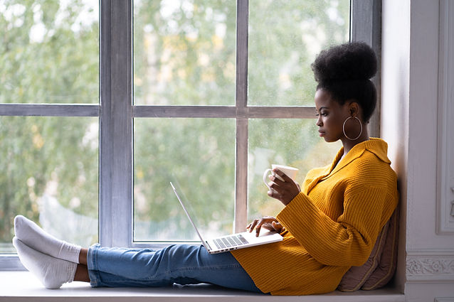 Focused African American biracial woman