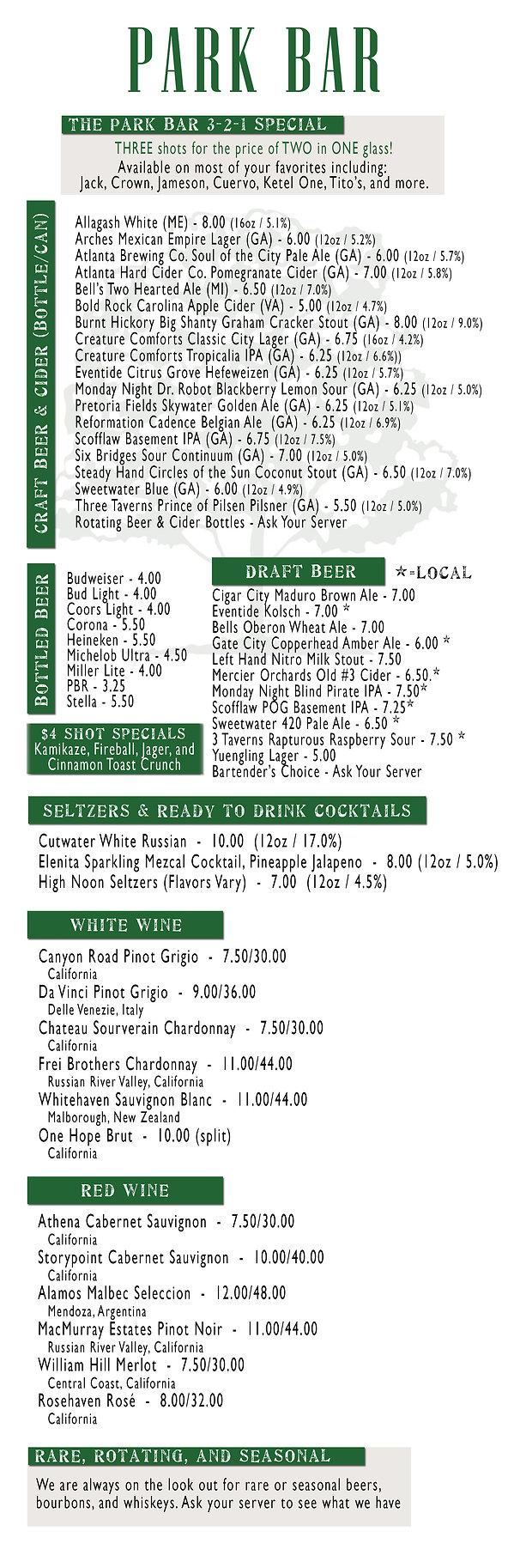 Park Bar Beer and Wine Menu