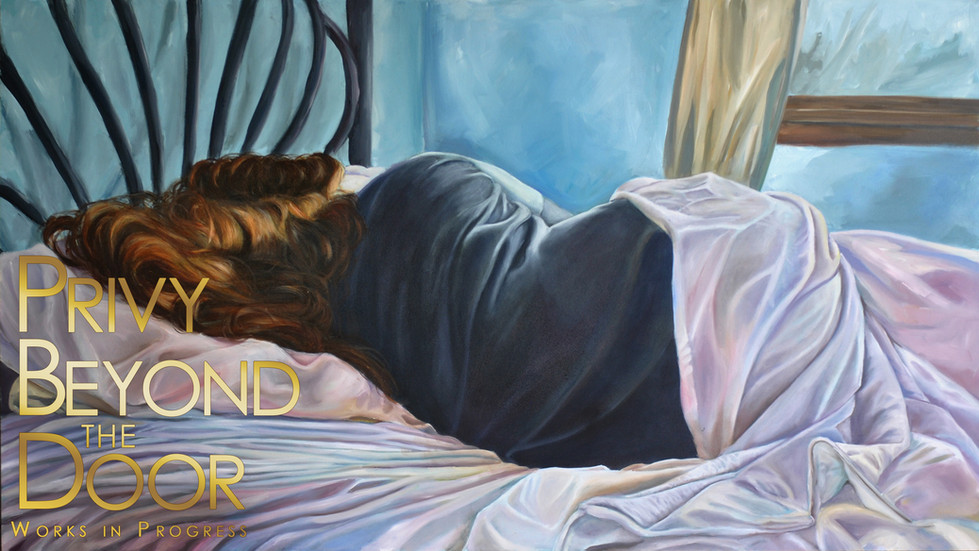 Treu Self, Privy Beyond the Door.  2017 - 2018. Oil on Panel, 48x27in.