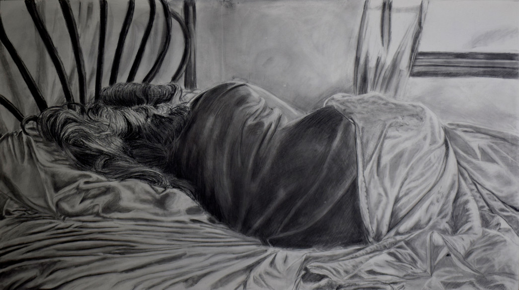 True Self (stage 1). 2017 - 2018. Charcoal on panel, 48x27in.