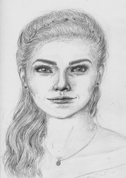 Character Concept Sketch (Portrait), Kyna (1st Iteration)