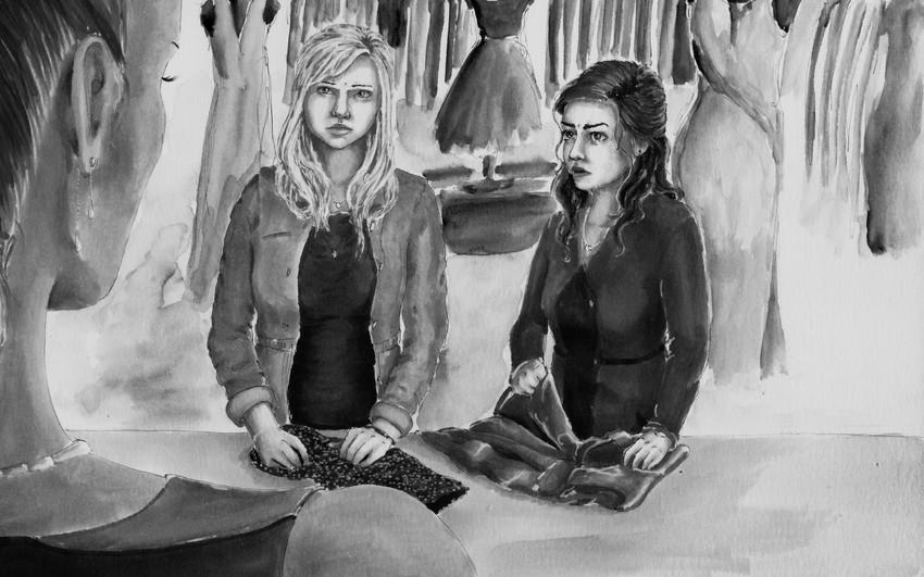 """Jacksons,"" Illustrative Drawing of Megan and Kyna"