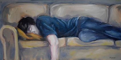 Again/Sleeping-couch-man (study).  2017. Oil on Canvas, 24x18in.