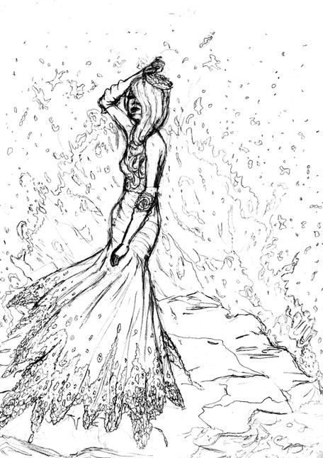 Royal Blue and Doily Lace Ocean Dress Concept Sketch
