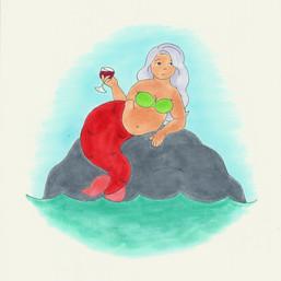 Sassy Mermaid. 2020. Ink on Paper.