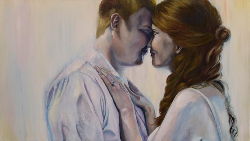 N + E Portrait. 2016-2017. Oil on Panel, 48x27in.