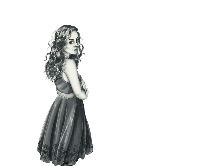"""""""Coy,"""" Illustration of Kyna in Party Dress"""