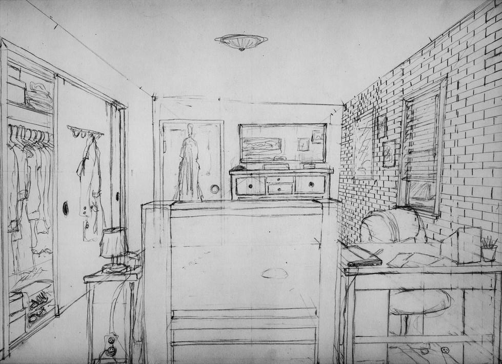 Lillian's Room (cocept).  2011. Graphite on Paper, 14x11in.